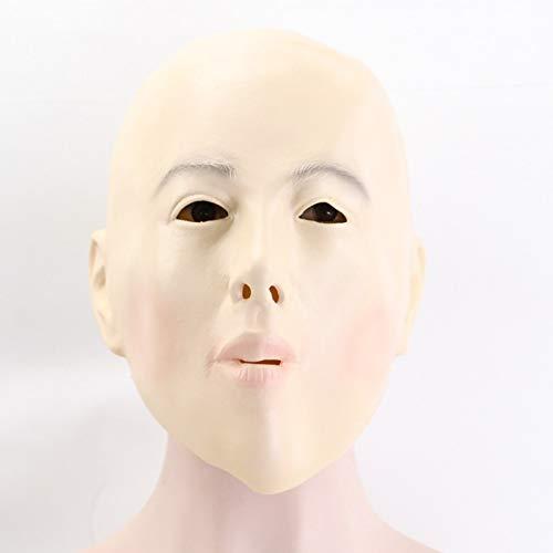 WZYWSJ Latex Halloween Maskerade Cosplay Frau Party Maske Ball Kostüm Requisiten Latex Halloween Maske Glatze Mädchen Maske Vollgesichts - Glatze Frau Kostüm