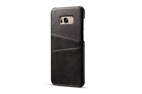 FQIAO Funda Samsung Galaxy S8,PU Cuero Protector Teléfono Espalda Cubrir Durable Caso Delgado Ajuste con 2 Tarjeta Espacio para Apple Samsung Galaxy S8 2017(Negro)
