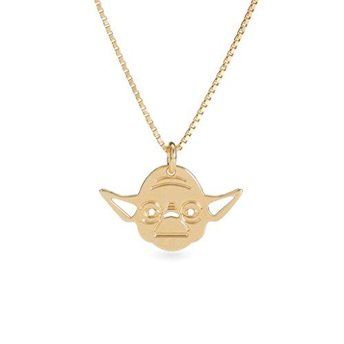(Malaika Raiss Damen Halskette Star Wars Yoda Anhänger 24 Karat vergoldet - SW3111)