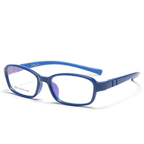 Klerokoh Kinder bonbonfarbene Brillenfassung mit weichen, Nicht verschreibungspflichtigen Brillen für Frauen (Color : Blue)