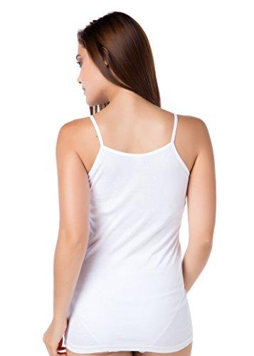 3er-Pack Damenunterhemd Feinripp Spaghettitop Achselshirt Trägertop Spitze Schwarz Weiß ohne Seitennaht 100% gekämmte Baumwolle stylenmore Spaghettiträger Top, Weiß