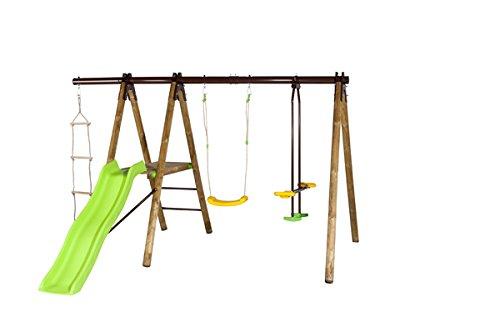 Empfehlung: Doppel Holzschaukel mit Strickleiter & Rutsche  von Trigano Jardin*