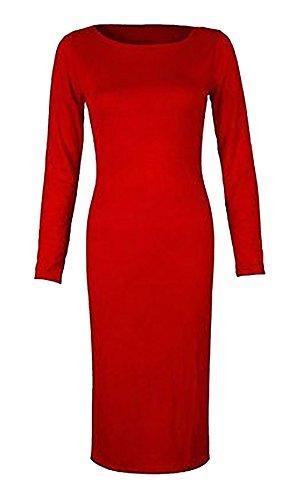 FASHION FAIRIES LTD - Robe Femme Fille Moulante Extensible Col Polo Rouge