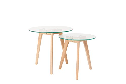Felis Lifestyle Side Table BROR Set of 2 Verre, Blanc, 50x50x45 cm
