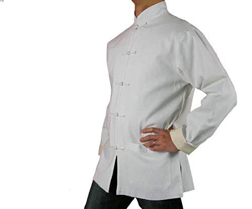 f33f83714 Lin Fin Col Mao Veste Blanche Tai Chi Arts Martiaux Blouson Homme Tailleur  #114