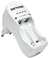 Envie ECR 6 Nano Battery Charger with 2xAA 2100mAH Rechargeable Batteries