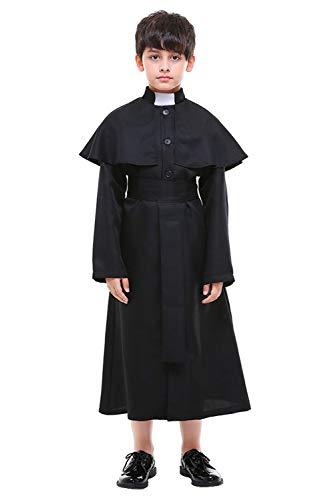 Tianxinshop Kinder Halloween Cosplay Kostüm Priester Kleid, Pfarrer Halloweenkostüm Kinder Pastor Christian Jesus Kostüm