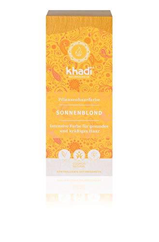 khadi Pflanzenhaarfarbe Sonnenblond 100g I Haarfarbe für warmes, sommerliches Blond I Naturhaarfarbe 100{1fd51cc7e87718316f0c1aacd92d8c382a518cfb7defc68808205366c86e00ef} pflanzlich