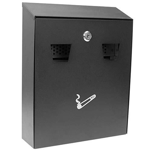Preisvergleich Produktbild PrimeMatik - Wand Aschenbecher für Außenbereich aus schwarz Metall 258 x 77 x 320 mm