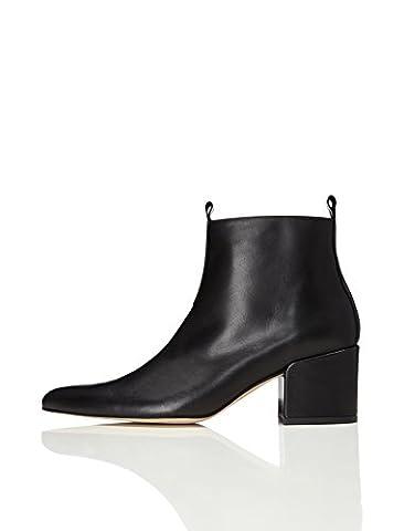 FIND Damen Ankle Boots mit Blockabsatz, Schwarz (Black), 39 EU
