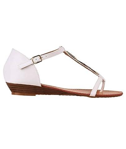 4702-WHT-5: Sandales Compensées avec Bijoux - 38 EU - Blanc