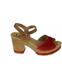 Cowa sandalia cw-024 - Sandalias de vestir de cuero nobuck para mujer, color beige, talla 37