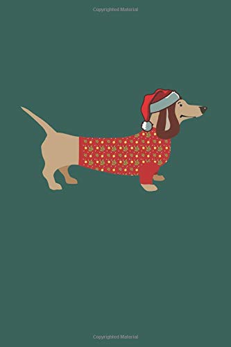 Merry Christmas Dachshund Notebook: Doxie in Dog Sweater Lined Journal