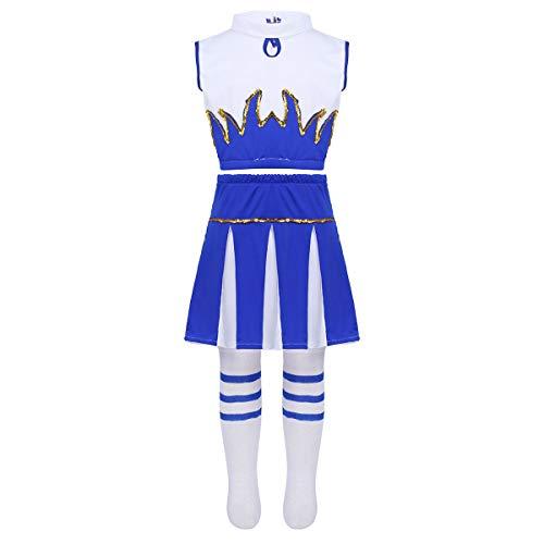 dPois Mädchen Peformence Kostüm Outfit Crop Top mit Rock Socken Set Kleinkind Cheerleading Kostüm Tanz Kostüm für Coplay Fasching Karneval Party Halloween Weiß&Blau 128-140/8-10Jahre