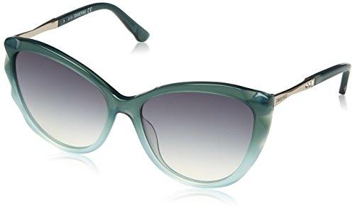 Swarovski sk0107-5796p, occhiali da sole donna, verde (shiny dark green), 57