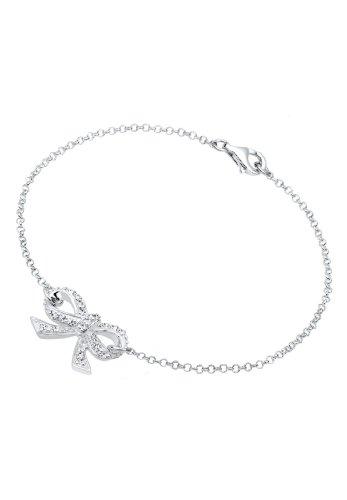 Elli-Damen-Gliederarmband-Schleife-925-Sterling-Silber-Swarovski-Kristall-wei-Brillantschliff-021125281318