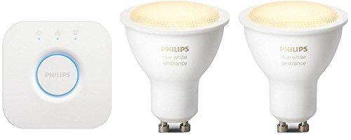 Philips Hue White Ambiance Set 2 Faretti Spot LED, Attacco GU10 + Hue Bridge 2.0 Controllo del Sistema, Compatibile con Google Assistant