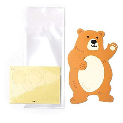 Kbsin212 süße Keksbeutel - 10 Stück süße Tierbär Kaninchen Koala Süßigkeitentüten Grußkarten Kekstüten Geschenktüten Baby Dusche Geburtstag Party Dekoration, Farbe, E: 8 * 12cm Cute Bear