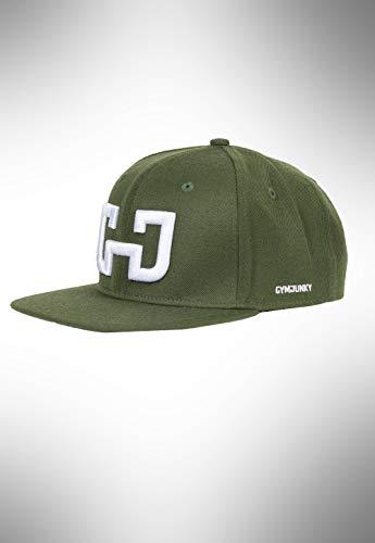 GYMJUNKY Snapback Cap Military Green- Unisex Snapback Cap mit weißen Sticklogo - Baseballcap - Mütze mit verstellbarem Verschluss - Cap für Sport Fitness Training & Freizeit