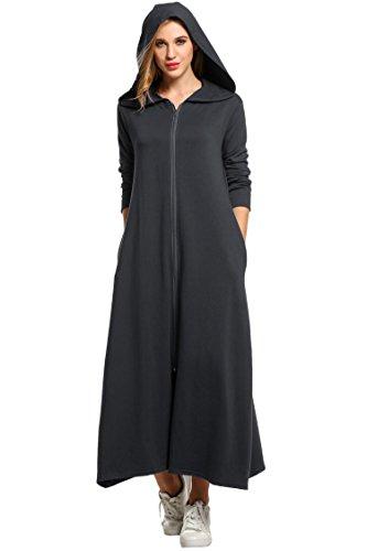 UNibelle Damen Langarm Bademantel Nachtwäsche mit Kaputze vorner Reißverschluss Hoodie Morgenmantel Lange Maxi Robe