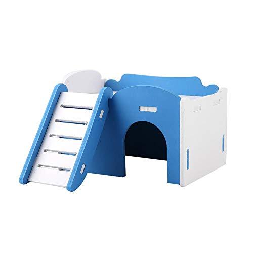 Schloss-loft (Mumusuki Doppelschicht Hamster Haus Bett Käfig Klettern Spielzeug Kleine Haustiere Slide Nest Loft Bett Nettes hölzernes Schlafhaus mit Treppe für Meerschweinchen Igel Schloss(Blau))