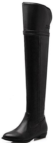 Anlarach Damen Cos-Spiel Ritter Reiten Schenkel High über die Knie Reißverschluss Low Heel Schwarz Stiefel Schuhe Größe EU 43 Schwarz Breite Kalb Stiefel Größe 8 Für Frauen