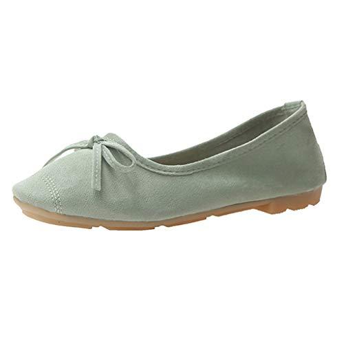 LILIGOD Frauen Flache Einzelne Schuhe Segelschuhe Mode Slip-On Schuhe Wildleder Flacher Mund Erbsen Schuhe Runder Kopf Wild Strand Schuhe Müßiggänger Sommer Schuhe anziehen -
