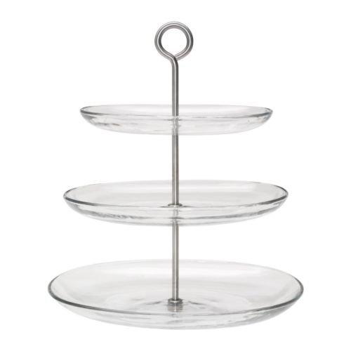"IKEA Glas-Etagere \""KVITTERA\"" 3-fach Etagére mit kombinierbaren, abnehmbaren Tellern aus Glas mit hohen Kanten - 27x31x34cm (BxTxH) - spülmaschinenfest"