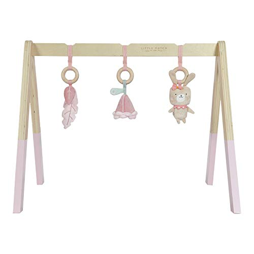 LITTLE DUTCH 4439 Holz Baby gym Spieltrapez inkl. Anhänger - rosa (Baby Gym)