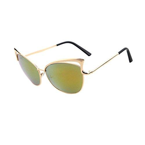FNKDOR Mode Sonnenbrille Unisex Metallbügel Getönt Verspiegelt (Orange)