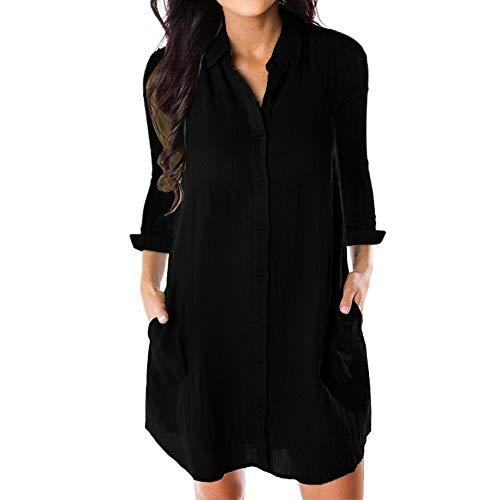 Geili Damen Herbst Langarm Shirtkleid Hemdkleid Lang Shirt Freizeit Knöpfen Taschen T Shirt Basic Einfarbige Minikleid Alltag Kurz Kleider
