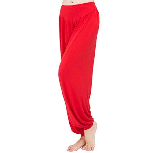 OSYARD Damen Super Weiche Modal Spandex Harem Yoga Pilates Hosen(EU 46/XL, Rot)