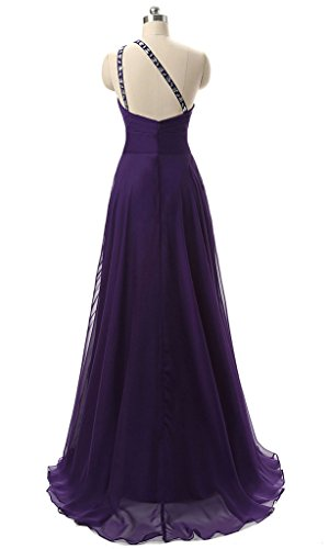 Vantexi Damen Chiffon Lange Ein-Schulter Abendkleid Ballkleid Lila