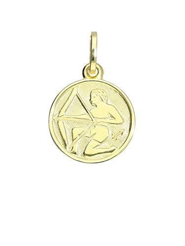 MyGold Sternzeichen Anhänger Schütze (Ohne Kette) Gelbgold 333 Gold (8 Karat) Klein Ø 12mm Rund Tierkreiszeichen Horoskop Goldkette Halskette Kettenanhänger Geschenk Zodiac round A-06017-G303-Sch
