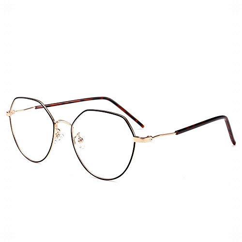UICICI Blu-ray-unregelmäßige Retro-Brillengestell-Brillengläser Brillenglaslinse (Farbe : Black/Gold)