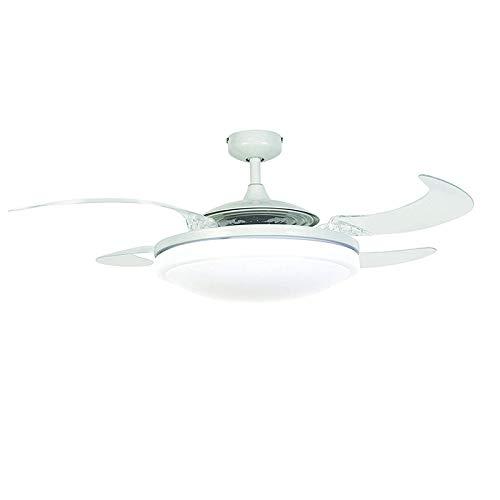 LED Unsichtbare Lüfter einfache Deckenventilator mit Lampe, moderne mode Fan Lichter, Dreifarbiges Dimmen + Fernbedienung 72 W (Led-licht Lüfter Mit)