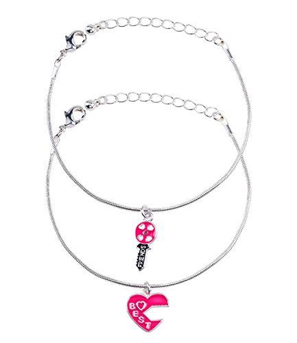 SIX 2er Set Armbänder, Armkettchen, Armschmuck, Freundschaftskette, Kinder, Anhänger, Best Friends, Herz, Schlüsse, Pink, silberfarben (294-650)