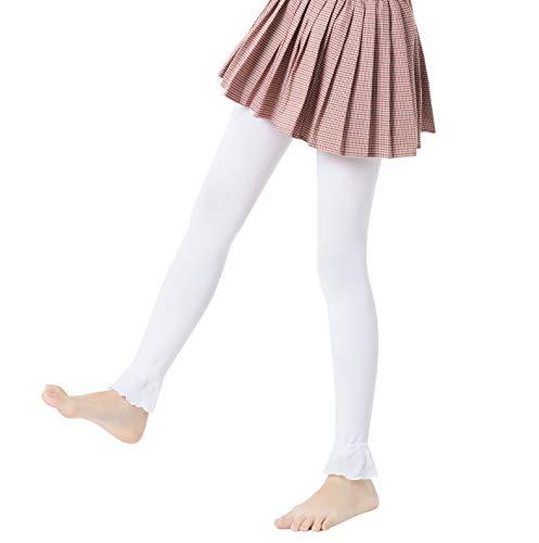 Mädchen Nahtlos Undurchsichtig Footless Strumpfhosen Leggings,80 DEN (8-10, Ruffle White)