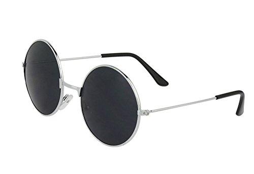 trendy Sonnenbrille im runden Retro-Style - 2 Farben zur Auswahl (Silber)
