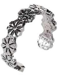 SLB Works 1pc Retro Flower Pattern Adjustable Toe Ring Foot Jewellery Antique Silver X3A7