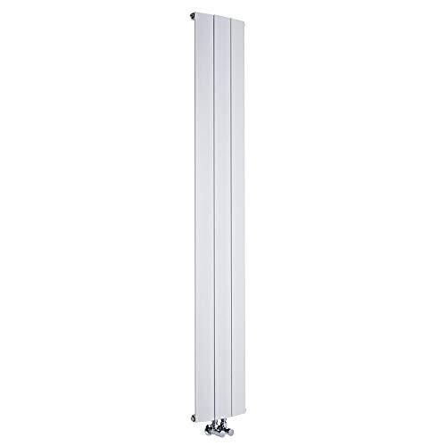 Hudson Reed Aurora Termosifone Termoarredo Verticale – Attacchi Centrali – Radiatore di Design in Alluminio – Colore Bianco – 1152W – 1800 x 280 mm – Riscaldamento Moderno ed Efficiente