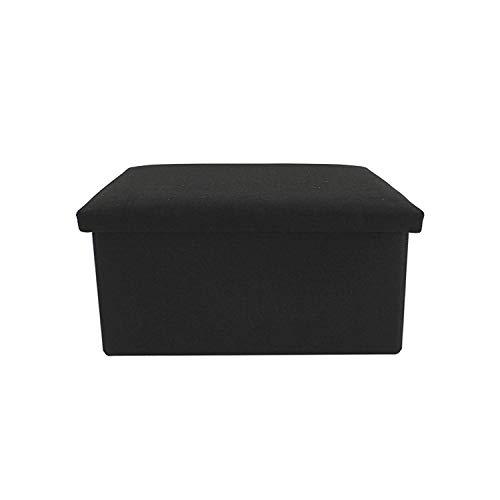 rebecca mobili pouff apribile, pouf contenitore, nero, foderato cotone - misure 37 x 76 x 38 cm (hxlxp) - art. re6161
