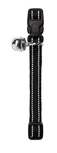 HUNTER FLASHLIGHT Katzenhalsband, Nylon, elastisch, reflektierend, Glöckchen, schwarz