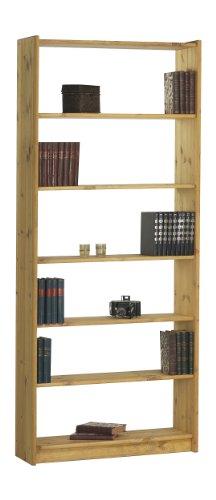 Steens Axel Bücherregal, mit 5 Einlegeböden, höhenverstellbar, 84 x 205 x 30 cm (B/H/T), Kiefer massiv, gelaugt geölt