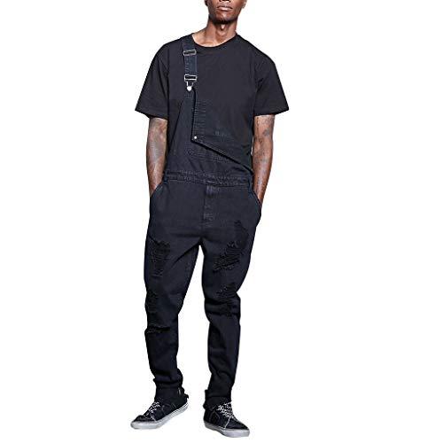 Seguire Herren Jeans Latzhose Lang Jeanshose Destroyed Denim Overalls Streetwear Hose Arbeitshosen Hosenträgerhose -