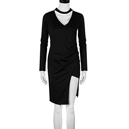 Robe de cocktail Party, Transer ® Femmes foulard Wrap sur robe Bodycon crayon asymétrique manches longues Noir
