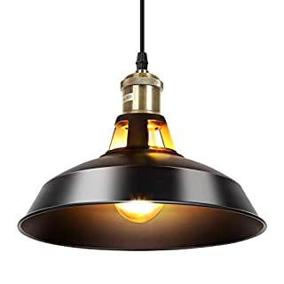 Sparksor Black Industrial Ceiling Pendant Light Fixture with Wrought Iron lampshade for Dining Room, Bedroom, Cafe, Bar, Corridor, Hallway, Entryway, Passway