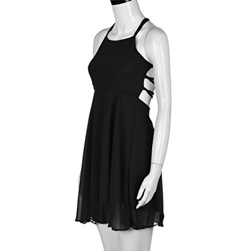 WOCACHI Damen Sommer Kleider Reizvolle Frauen Party Cocktail Backless Bandage Ärmelloses Minikleid Black