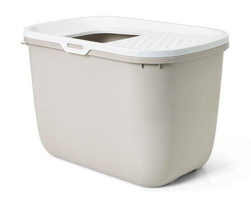 Toilette hop in - lettiera chiusa per gatti, con ingresso dall'alto (bianco / beige)