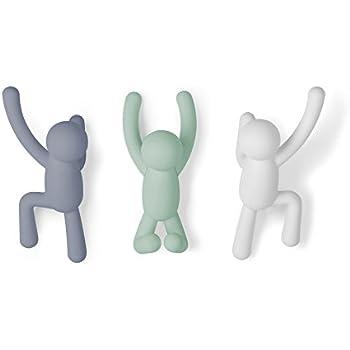 Umbra Crochets muraux Buddy Porte-Manteau Mural Décoratif pour Manteaux, Foulards, Sacs, Sac à Main, Sacs à Dos, Serviettes et Plus, Ensemble DE 3, Multicolores Pastels